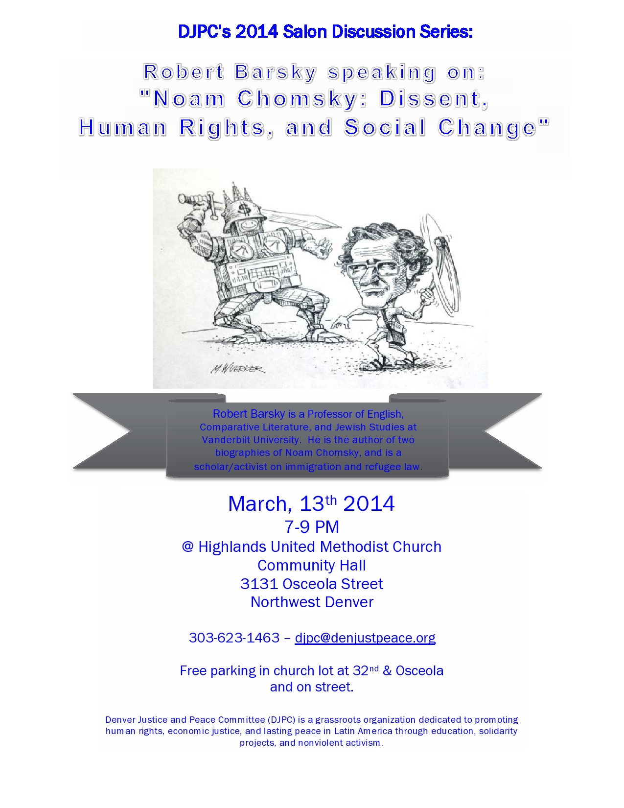 (English) March 13th Salon:  «Noam Chomsky:  Dissent, Human Rights, and Social Change» by Robert Barsky
