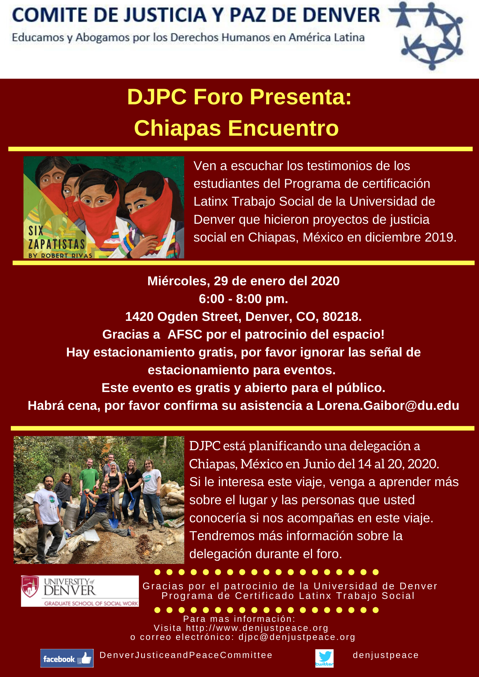 Forum: Chiapas Encuentro. January 29th at 6:00pm