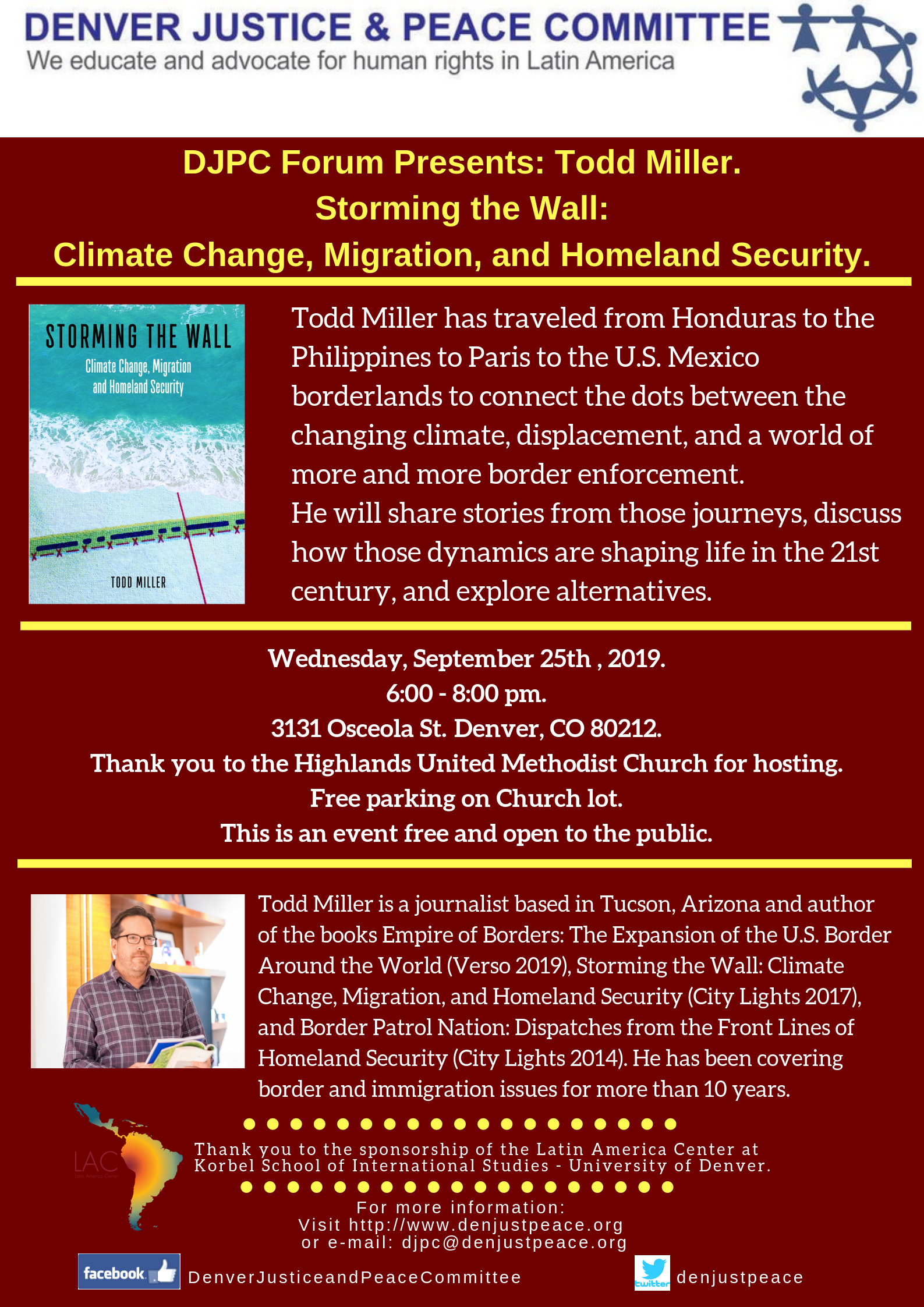 "Forum on September 25th: ""Storming the Wall: Climate Change, Migration, and Homeland Security"""
