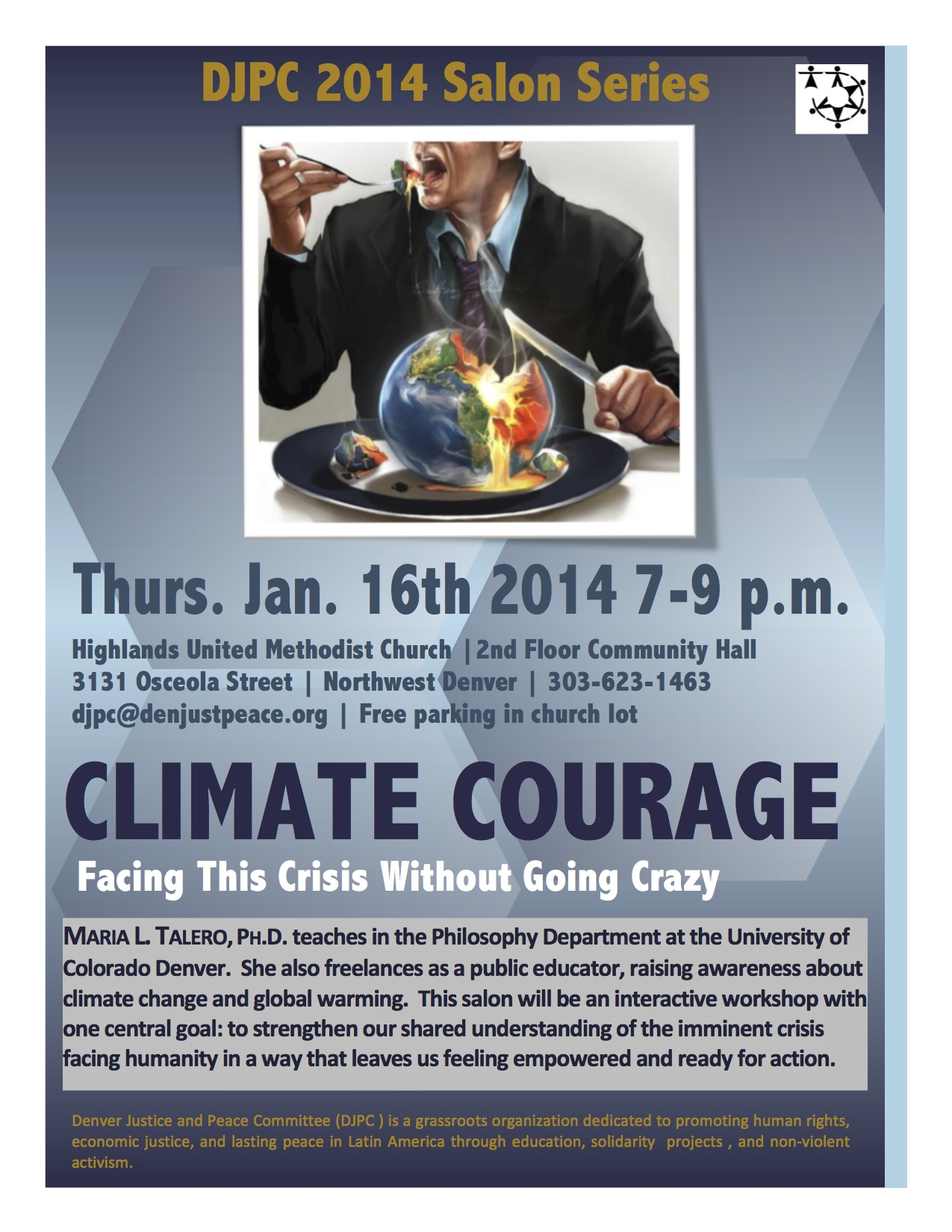 """Climate Courage""  DJPC Salon Jan. 16th"