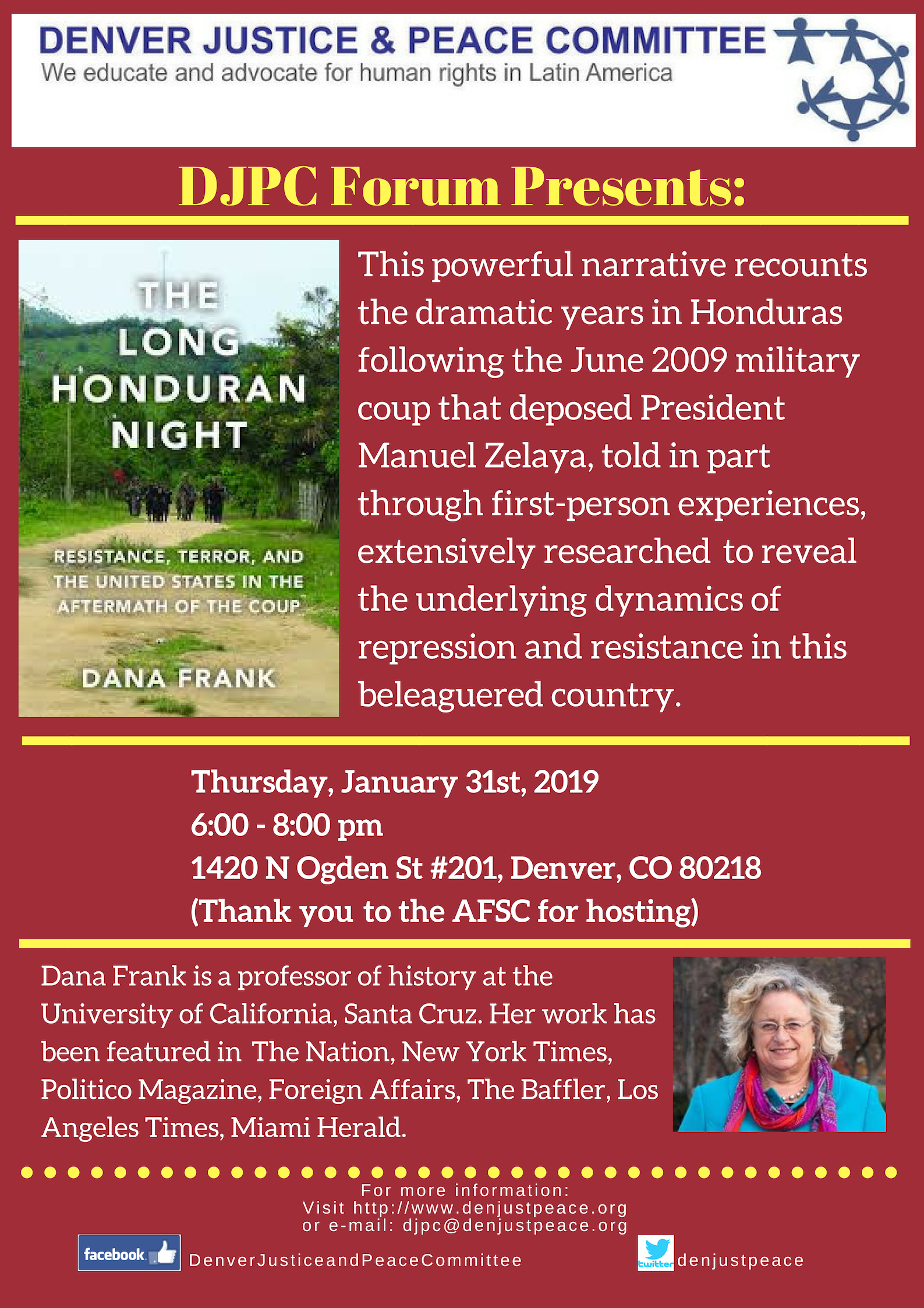DJPC Forum: The Long Honduran Night with Dana Frank. January 31st at 6:00 pm.