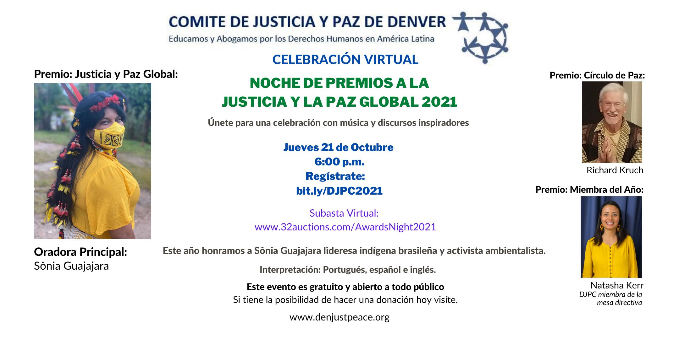 Invitación: Noche de Premios a la Justicia y la Paz Global 2021: Jueves 21 de Octubre a las 18:00 horas.
