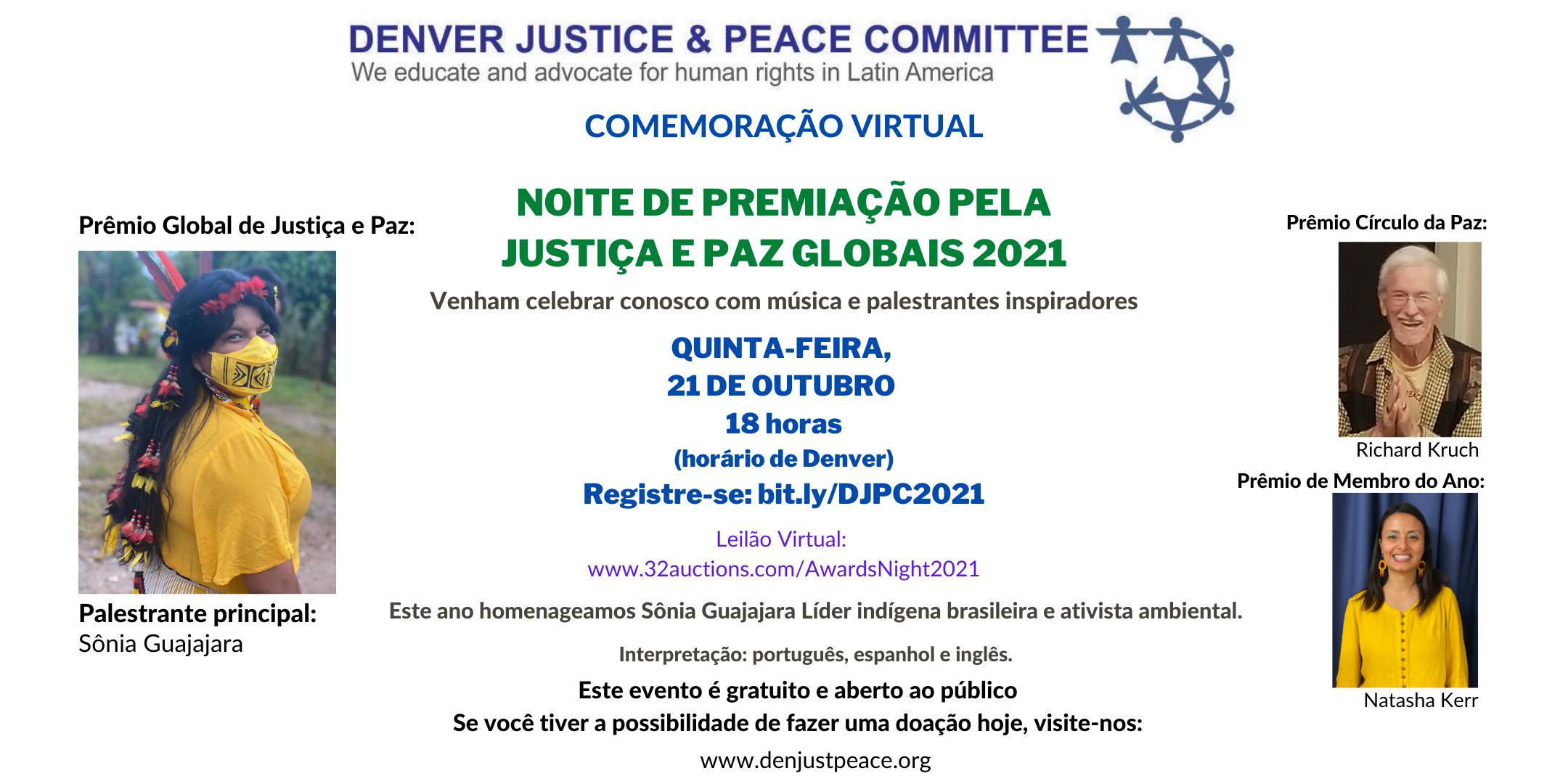 Convite: Noite de Premiação pela Justiça e Paz Globais 2021. Quinta-feira, 21 de outubro, às 18:00.