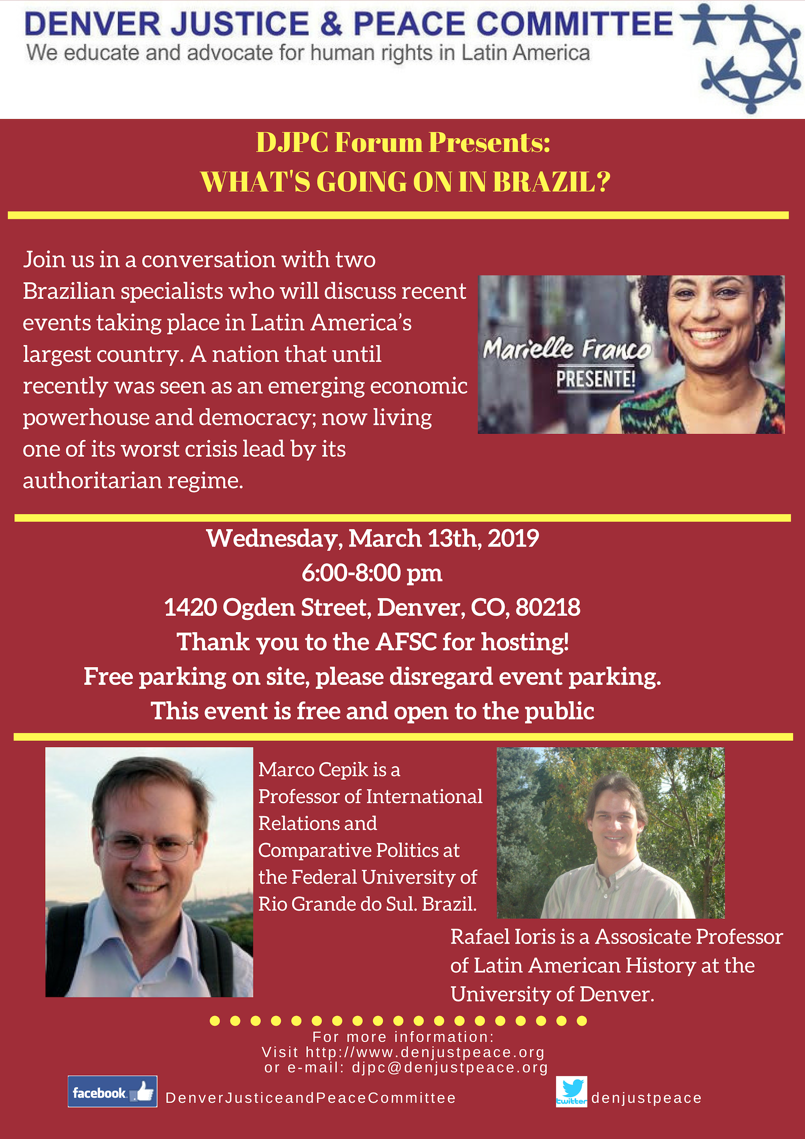 DJPC Forum Presents: What is going on in Brazil? Wednesday April 17th at 6pm