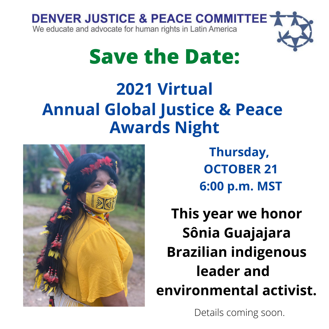 2021 Virtual Annual Global Justice and Peace Awards Night: Save the Date