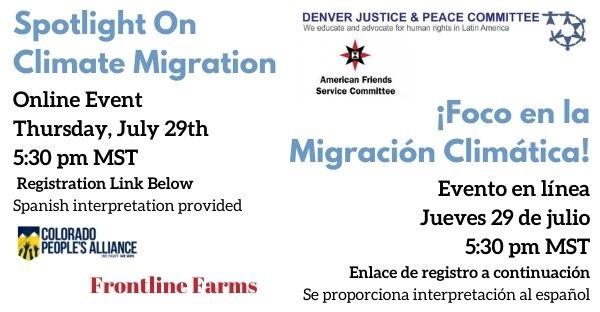 Spotlight On: Climate Migration on Thursday, July 29th at 5:30